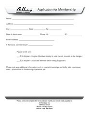 Download the Air Heritage Membership Application