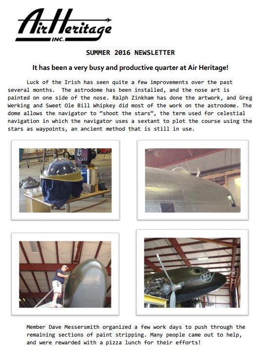 Air Heritage Summer 2016 Newsletter
